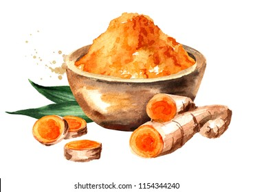 Turmeric root and powder in the bowl. Watercolor hand drawn illustration, isolated on white background