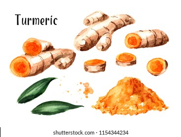 Turmeric root and powder set. Watercolor hand drawn illustration isolated on white background