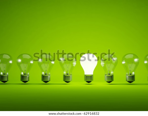 Turn on bulb on green background