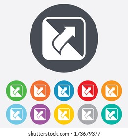 Turn page sign icon. Peel back the corner of the sheet symbol. Round colourful 11 buttons.