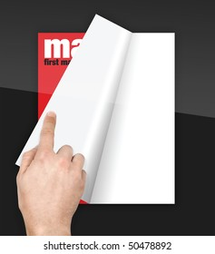 turning pages of digital magazine with finger on glossy screen