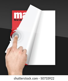 turning pages of digital magazine with finger on touchscreen with ripple effect