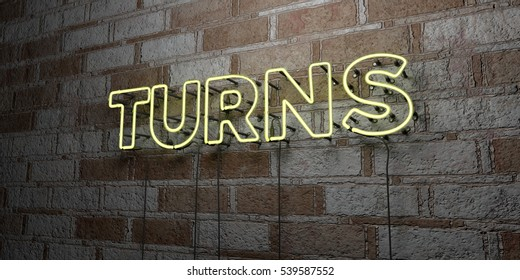 TURNS - Glowing Neon Sign on stonework wall - 3D rendered royalty free stock illustration.  Can be used for online banner ads and direct mailers.