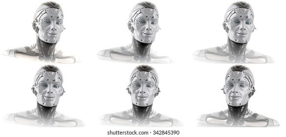 Turntable set with robot head from different angle of a camera for design. Closeup tech portrait of a cyborg with god mood and smile on face.