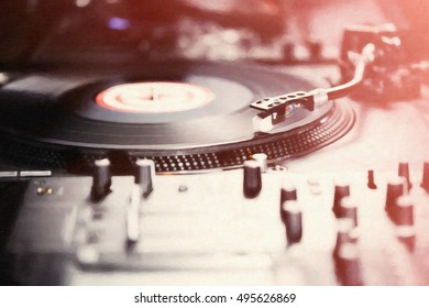 Turntable vinyl record player,analog sound technology for DJ playing analog,digital music.Audio equipment for professional studio,concert,dj event.House party or night club party poster illustration