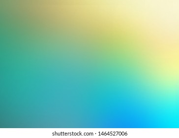 Turqoise blue yellow blur gradient background. Bright formless pattern. Defocus tropic illustration abstract.