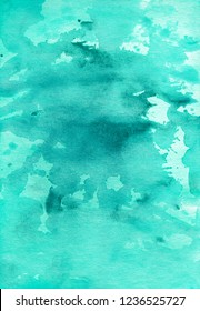 Turquiose aquarelle paint splash background. Watery ink texture. Bright overlay. Watercolor green artwork. Turquiose aquarelle stains on textured paper. Watercolour hand painted backdrop. Card.
