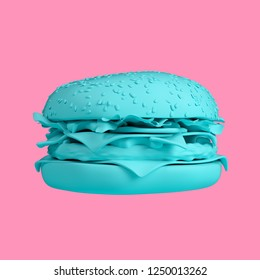 Turquoise big cheeseburger isolated on pink background. Trendy fashion style. Minimal design art. 3d illustration.