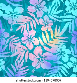 Turquoise blue and pink colors tropic flowers and leaves silhouettes seamless pattern tile