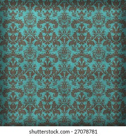 Turquoise and bronze damask background