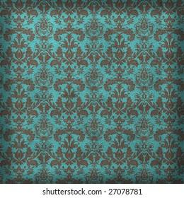 Turquoise and bronze damask background