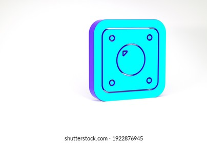 Turquoise Electric light switch icon isolated on white background. On and Off icon. Dimmer light switch sign. Concept of energy saving. Minimalism concept. 3d illustration 3D render.