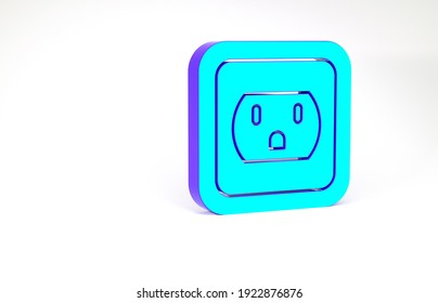 Turquoise Electrical outlet in the USA icon isolated on white background. Power socket. Minimalism concept. 3d illustration 3D render.