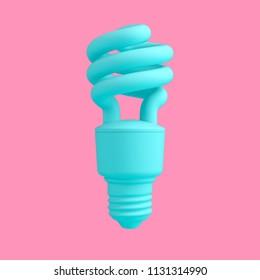 Turquoise fluorescent light bulb isolated on pink background. Trendy fashion style. Minimal design art. 3d illustration.