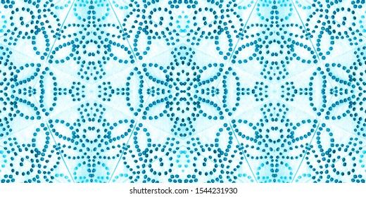 Turquoise Frosty Window. Aztec Rug Background Ice. Baby Blue Winter Background. Geometrical Sky Blue Watercolor Print. Ornamental Blueish Ink Chinese Art. Icy Blue Frosty Texture.