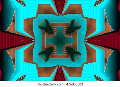 turquoise geometric composition of colors, patterns,texture,puzzle,science,knowledge,.cosmos, space,synapses, nebulae,universe,mathematical models,render,