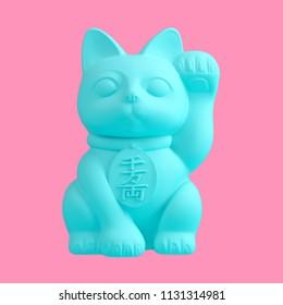 Turquoise maneki neko figure isolated on pink background. Trendy fashion style. Minimal design art. 3d illustration.