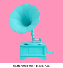 Turquoise old gramophone with vinyl disk isolated on pink background. Trendy fashion style. Minimal design art. 3d illustration.