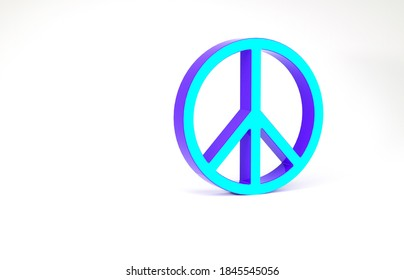 Turquoise Peace icon isolated on white background. Hippie symbol of peace. Minimalism concept. 3d illustration 3D render