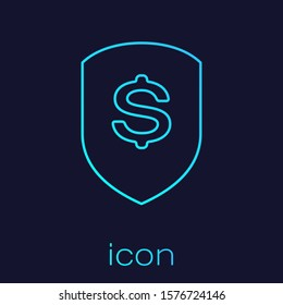 Turquoise Shield and dollar line icon isolated on blue background. Security shield protection. Money security concept