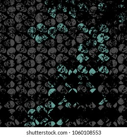 Turquoise Skull Art background. An illustration of dark gray skulls and faded skulls on a black background.