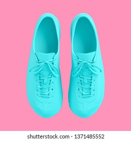 Turquoise sneakers isolated on pink background. Trendy fashion style. Minimal design art. 3d illustration.