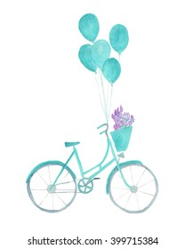 Turquoise watercolor bicycle with balloons, flowers and basket. Cute bike illustration isolated on white background. Clipart graphic design download.Digital download for commercial use.