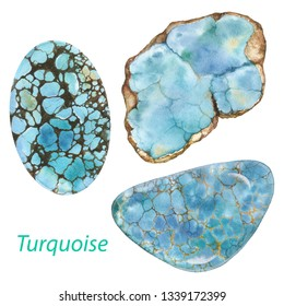 Turquoise watercolor gems. Throat chakra stones and healing crystals. Hand drawn illustration of blue gemstones isolated on white background
