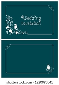 Turquoise wedding invitation, rsvp invite, thank you and save the date cards with floral design and butterfly. Horizontal card template for foil print