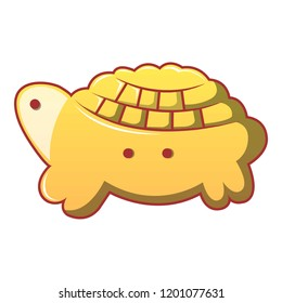 Turtle biscuit icon. Cartoon of turtle biscuit icon for web design isolated on white background