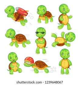 Turtle child. Running fast tortoise cartoon characters icon. Green funny walking run fall standing and rocket fly kids turtles cute wildlife animals in shell isolated  illustration symbol set