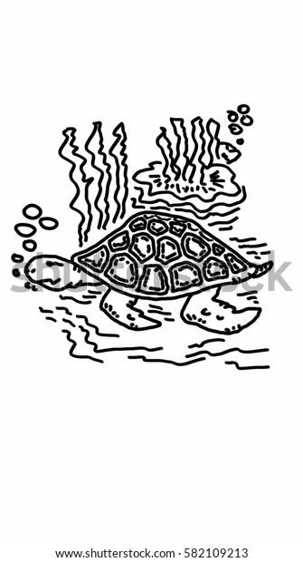 Turtle in deep sea icon