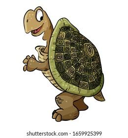Turtle image. Cartoon illustration of a cute tortoise turtle. Comic style pet illustration