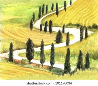 Tuscan Landscape. Illustration of colored pencils. Handmade. Hand drawing. Decorative background.