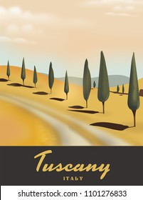 Tuscany Italy Cypress tree travel poster.