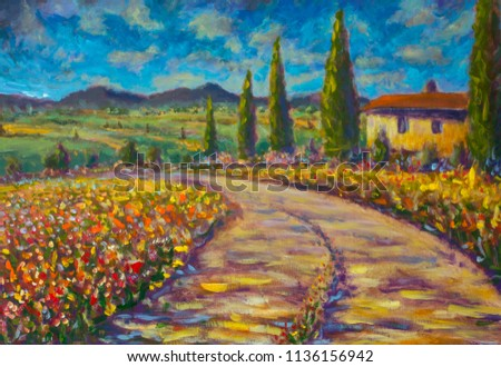 5e9645cd8e7 Tuscany painting on canvas. Warm summer French rural landscape. Italian  Tuscany. high cypresses