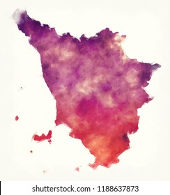 Tuscany region watercolor map of Italy in front of a white background