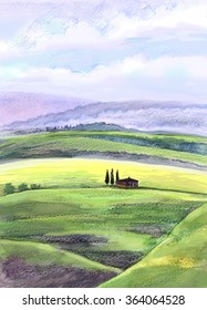 Tuscany rural landscape. Watercolor, colored pencil, mixed media. Illustration for greeting cards, invitations, and other printing projects.