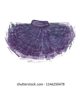 Tutu skirt. Watercolor illustration. Pleated ballet hand painted skirt.