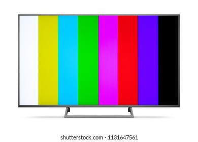 TV 4K flat screen lcd or oled, plasma realistic with rainbow bars, Black blank HD monitor mockup, Modern video panel black flatscreen with clipping path