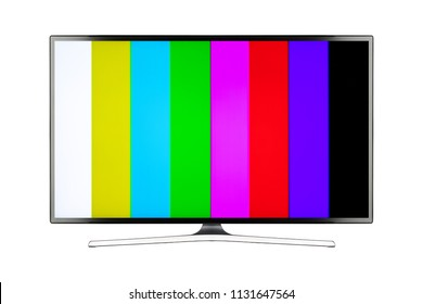 TV 4K flat screen lcd or oled, plasma realistic with rainbow bars, White blank HD monitor mockup, Modern video panel black flatscreen with clipping path
