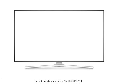 TV 4K flat screen lcd or oled, plasma realistic illustration, White blank HD monitor mockup, Modern video panel white flatscreen with clipping path
