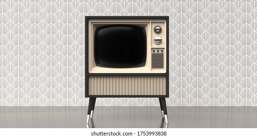 TV art deco home. Retro old television on stand, old fashioned vintage wallpaper, room floor wall background, template. 3d illustration