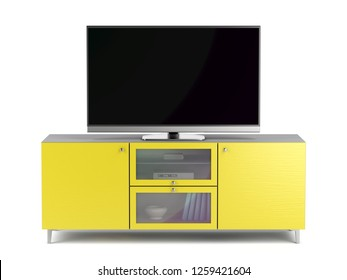 Tv with blank screen on modern yellow tv cabinet, 3D illustration