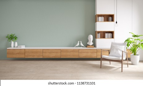 TV cabinet and display with  on wood flooring and pastel green wall, minimalist and vintage interior of living room,  ,3d rendering