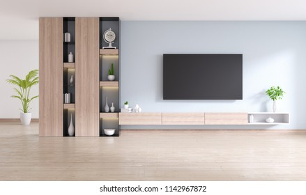 TV cabinet and display with  on wood flooring and light gray wall, minimalist and vintage interior of living room,  ,3d rendering