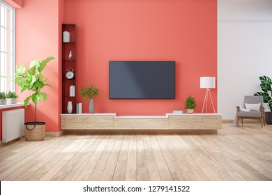 TV cabinet and display with on wood flooring and Living coral wall, minimalist and vintage interior of living room,3d rendering