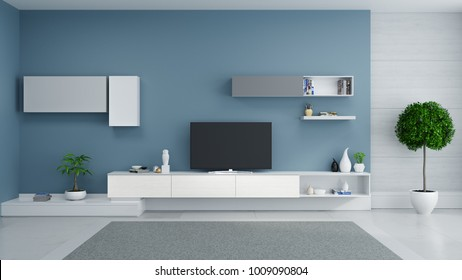 TV cabinet interior design modern and cozy idea , White sideboard on dark blur wall with  mable floor and gray carpet ,3d illustation