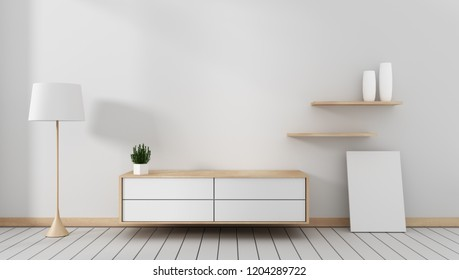 Tv cabinet in modern empty room Japanese - zen style,minimal designs. 3D rendering