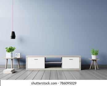Tv cabinet in modern empty room on back dark wall background, 3d rendering